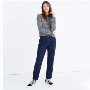 Madewell Track Trousers Pinstripe Navy Crop Pants